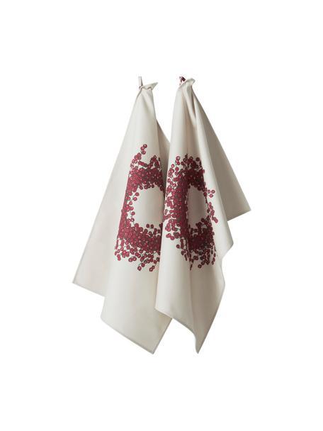Theedoeken Krans, 2 stuks, 100% katoen, afkomstig van duurzame katoenteelt, Crèmekleurig, roodtinten, 50 x 70 cm