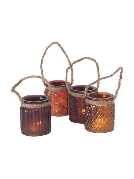 Windlichtenset Trax, 4-delig, Glas, Bruintinten, Ø 8 x H 9 cm