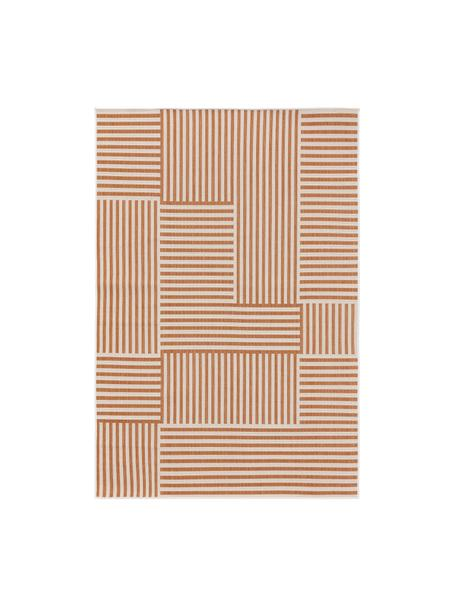 In- & outdoor vloerkleed met patroon Nillo, 100% polyethyleen, Oranje, crèmekleurig, B 120 x L 170 cm (maat S)