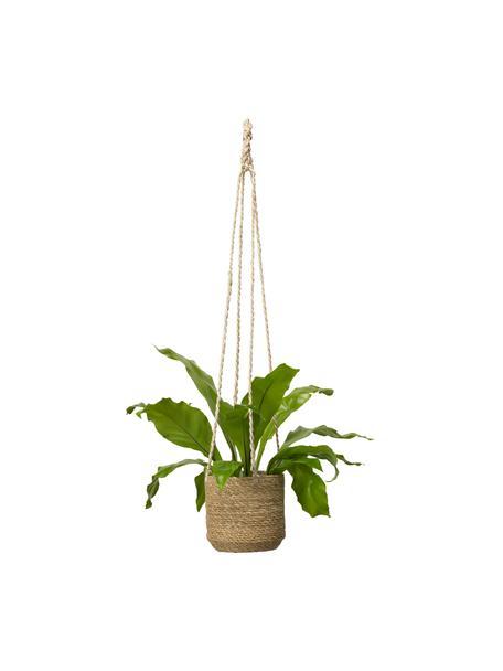 Kleine hangende plantenpot Belle met binnenfolie, Beige, Ø 16 x H 75 cm
