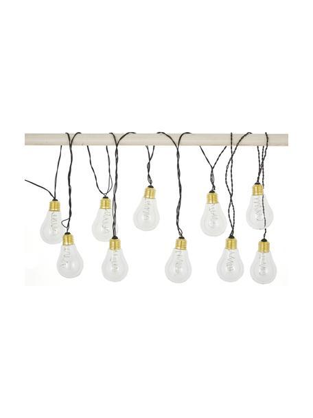 LED lichtslinger Bulb, 360 cm, 10 lampions, Peertje: kunststof, metaal, Peertje: transparant, goudkleurig. Snoer: zwart, L 360 cm