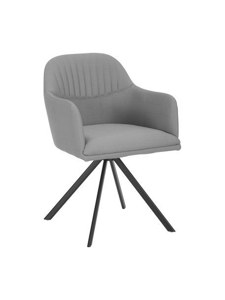 Tapicerowane krzesło obrotowe z podłokietnikami Lola, Tapicerka: poliester, Nogi: metal malowany proszkowo, Szary, czarny, S 55 x G 52 cm