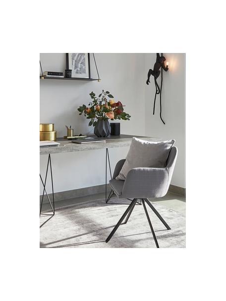 Beklede draaistoel Lola met armleuning, Bekleding: polyester, Poten: gepoedercoat metaal, Geweven stof grijs, poten zwart, B 55 x D 52 cm