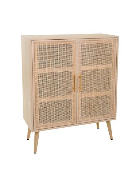 Credenza alta con ante Cayetana, Maniglie: metallo, Piedini: legno di bambù verniciato, Marrone, Larg. 80 x Alt. 101 cm