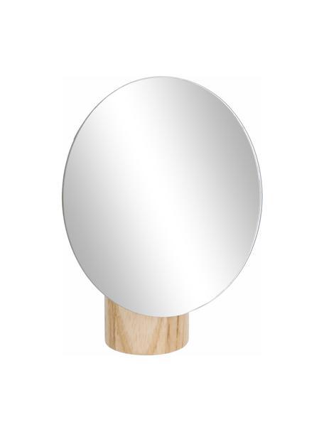 Ronde make-up spiegel Veida met een beige houten voet, Voetstuk: essenhout, Bruin, 14 x 16 cm