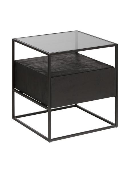 Stolik nocny z szufladą Theodor, Blat: szkło, Stelaż: metal malowany proszkowo, Czarny, S 45 x W 50 cm