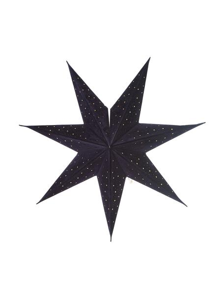 Samt-Weihnachtsstern Orby in Dunkelblau, Papier mit Samt-Überzug, Dunkelblau, Goldfarben, Ø 45 cm