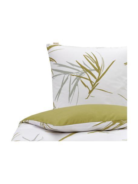 Pościel z bawełny Bamboo Grasses, Złamana biel, zielony, szary, 135 x 200 cm + 1 poduszka 80 x 80 cm