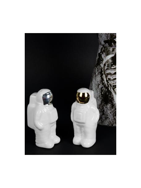 Zout- en peperstrooier Astronaut van porselein in goud-/zilverkleur, 2-delig, Porselein, Wit, zilverkleurig, goudkleurig, 6 x 9 cm
