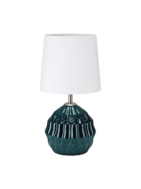 Kleine Keramik-Tischlampe Lora in Dunkelgrün, Lampenschirm: Textil, Lampenfuß: Keramik, beschichtet, Dekor: Metall, Grün, Weiß, Ø 19 x H 35 cm