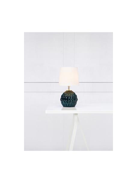 Lampada da tavolo piccola con paralume in tessuto Lora, Paralume: tessuto, Base della lampada: ceramica rivestita, Decorazione: metallo, Verde, bianco, Ø 19 x Alt. 35 cm