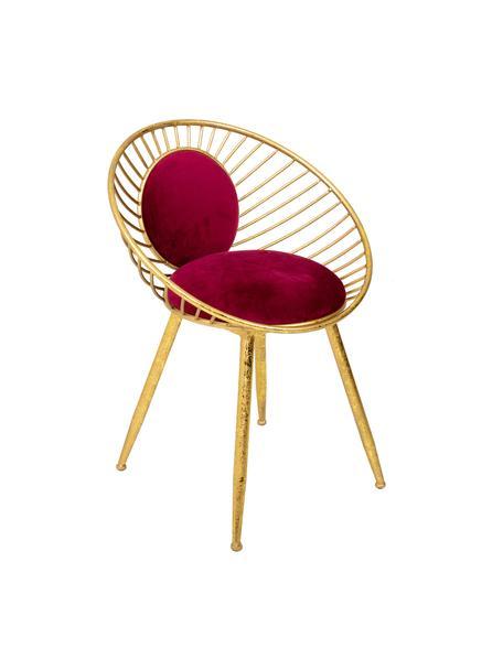 Silla tapizada Vivianna, Estructura: metal, Tapizado: terciopelo, Dorado, rojo, An 12 x Al 70 cm