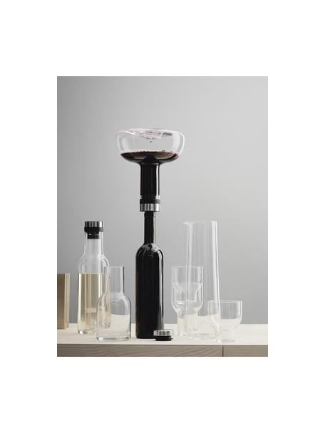 Dekanter Deluxe mit silbernem Deckel, 1.4 L, Glas, Edelstahl, Silikon, Transparent,Silber, H 21 cm