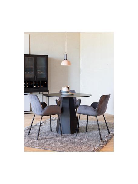 Tavolo rotondo nero Pillar, Compensato con impiallacciatura di frassino, Nero, Ø 100 x Alt. 76 cm