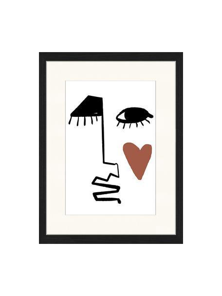 Gerahmter Digitaldruck Love Your Face, Bild: Digitaldruck auf Papier, , Rahmen: Holz, lackiert, Front: Plexiglas, Schwarz, Weiß, Rotbraun, 33 x 43 cm
