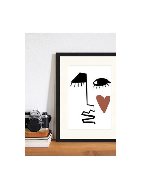 Impresión digital enmarcada Love Your Face, Negro, blanco, pardo, An 33 x Al 43 cm