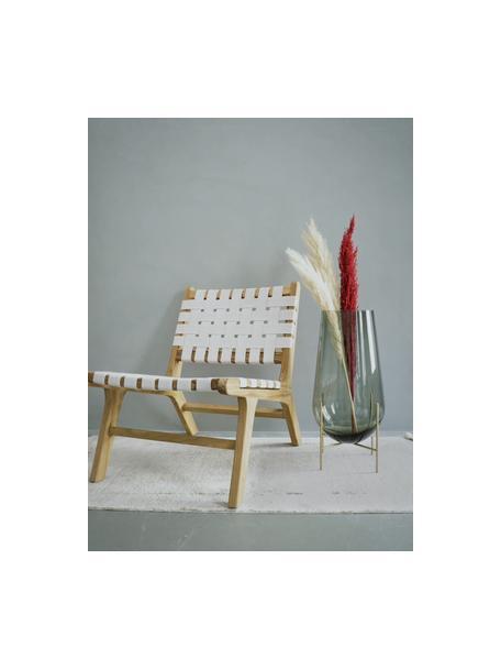 Mondgeblazen vloervaas Échasse, Frame: messing, Vaas: mondgeblazen glas, Messingkleurig, grijs, Ø 30 x H 60 cm