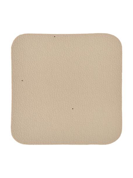 Vierkante kunstleren onderzetters Pik in beige, 4 stuks, Kunstleer (PVC), Beige, 10 x 10 cm