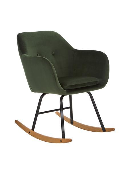 Fluwelen schommelstoel Emilia in groen, Bekleding: polyester (fluweel), Poten: gepoedercoat metaal, Fluweel groen, 57 x 69 cm