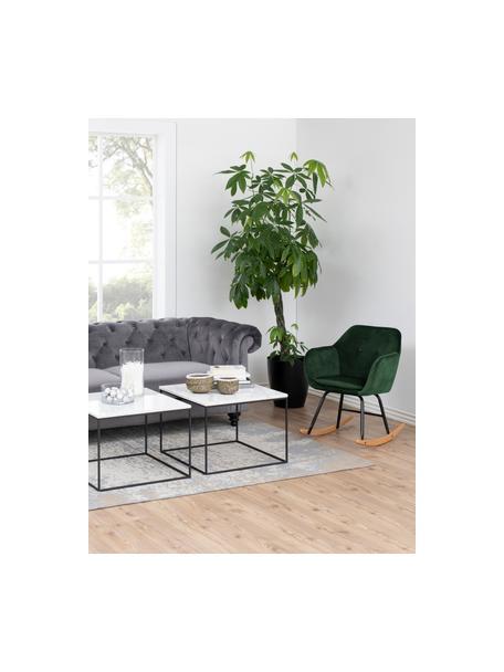 Sedia a dondolo in velluto verde Emilia, Rivestimento: poliestere (velluto) Il r, Gambe: metallo verniciato a polv, Verde, Larg. 57 x Alt. 69 cm