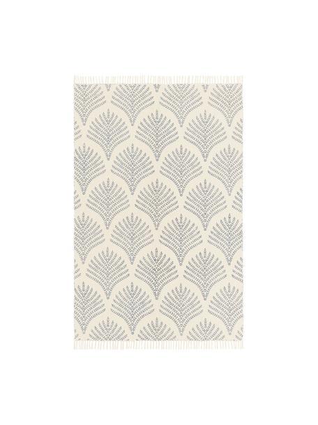 Tappeto in cotone beige/blu tessuto piatto con frange Klara, Beige, blu, Larg. 50 x Lung. 80 cm (taglia XXS)