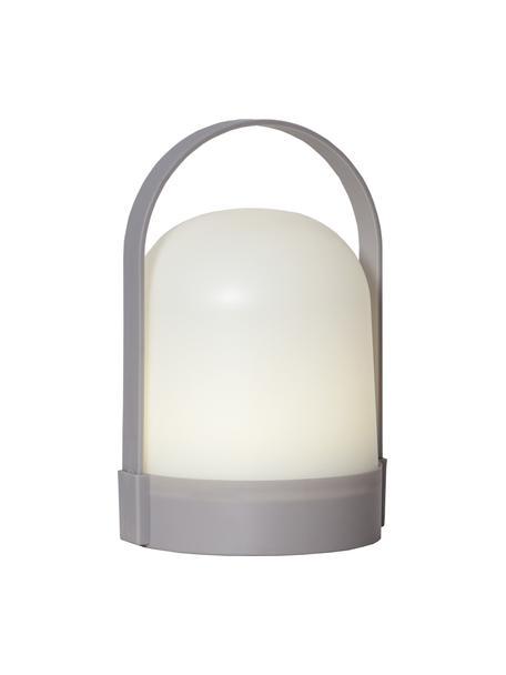 Kleine mobiele tafellamp Lette met tijdschakelaar, Lampenkap: kunststof, Wit, grijs, Ø 14 x H 22 cm
