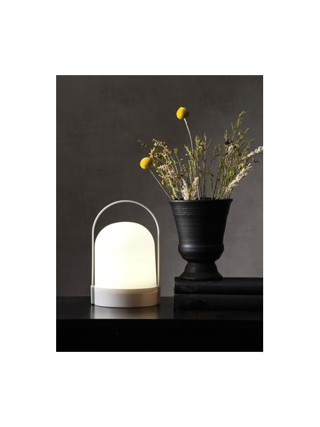 Lámpara de mesa pequeña con temporizador Lette, portátil, Pantalla: plástico, Estructura: plástico, Blanco, gris, Ø 14 x Al 22 cm