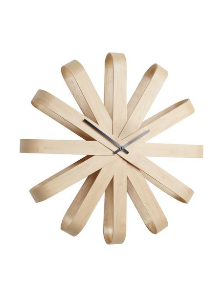 Orologio da parete Ribbon, Puntatore: metallo, Legno di faggio, antracite, Ø 51 cm