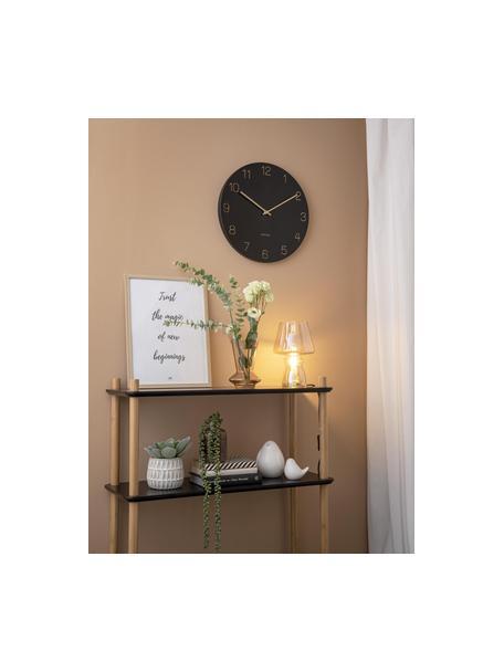 Zegar ścienny Charm, Metal powlekany, Czarny, odcienie mosiądzu, Ø 40 cm