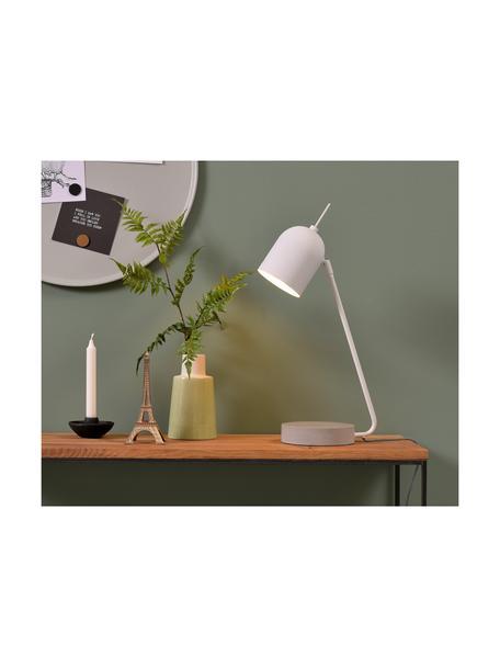 Lampada da tavolo con base in cemento Madrid, Paralume: metallo rivestito, Base della lampada: cemento, Bianco, cemento, Larg. 22 x Alt. 57 cm