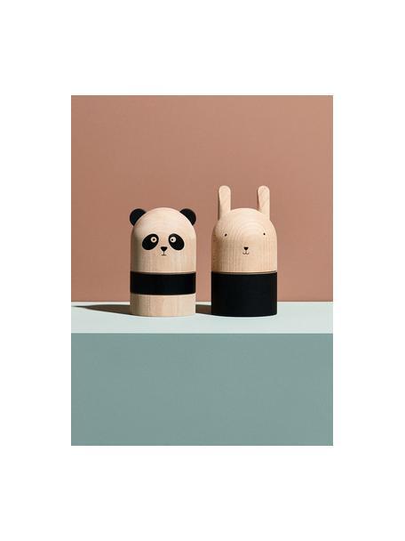 Hucha Panda, Madera de haya, Madera, negro, Ø 10 x Al 15 cm