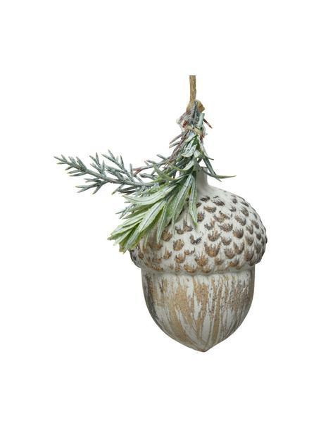Dekoracja wisząca Acorn, 2 szt., Drewno naturalne, Beżowy, zielony, biały, Ø 6 x W 9 cm