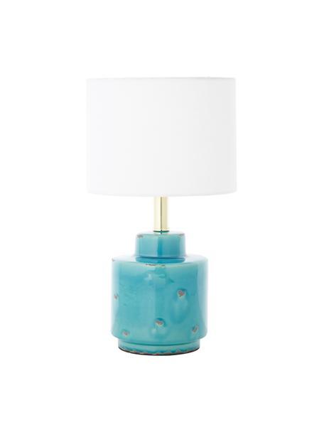 Keramik-Tischlampe Cous mit Antik-Finish, Lampenschirm: Polyester, Lampenfuß: Keramik mit Antik-Finish, Weiß, Blau mit Antik-Finish, Ø 24 x H 42 cm