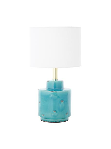Lampa stołowa z ceramiki z antycznym wykończeniem Cous, Biały, niebieski z antycznym wykończeniem, Ø 24 x W 42 cm