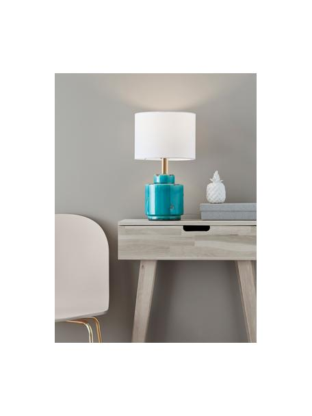 Lámpara de mesa de cerámica Cous, Pantalla: poliéster, Blanco, azul con efecto envejecido, Ø 24 x Al 42 cm