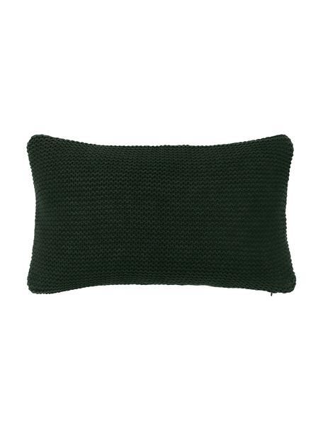 Federa arredo fatta a maglia verde scuro Adalyn, 100% cotone, Verde, Larg. 30 x Lung. 50 cm
