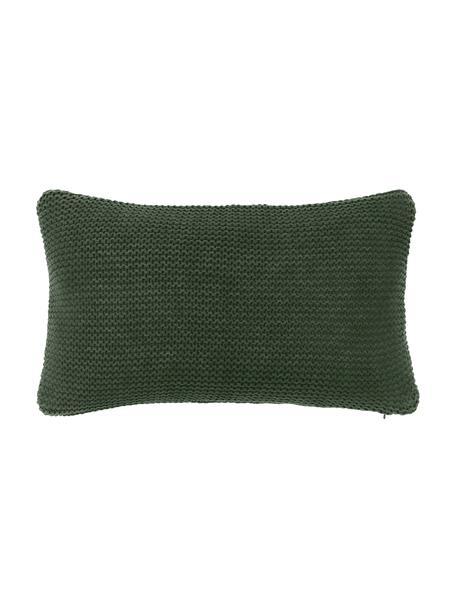 Federa arredo fatta a maglia verde scuro Adalyn, 100% cotone biologico, certificato GOTS, Verde, Larg. 30 x Lung. 50 cm