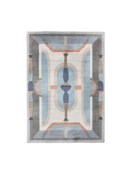 Gemusterter Teppich Mara in Blautönen, 100% Polyester, Blau, Mehrfarbig, B 200 x L 300 cm (Größe L)
