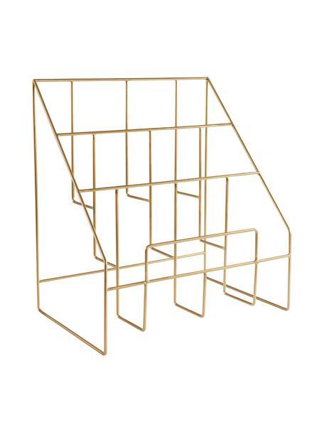 Portariviste Freddy, Metallo verniciato, Oro, Larg. 38 x Alt. 41 cm