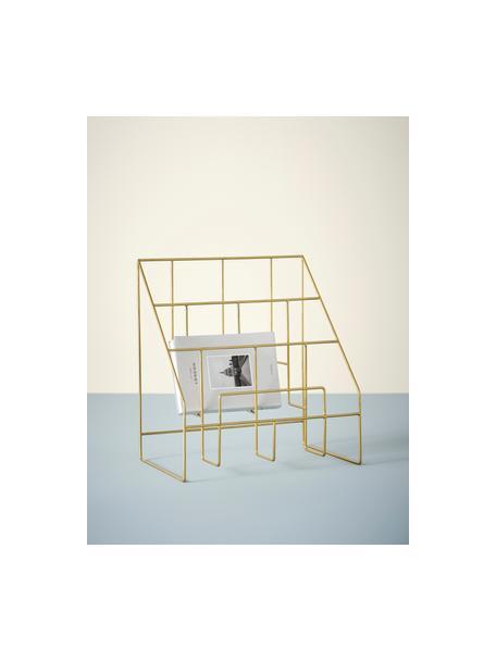 Stojak na czasopisma Freddy, Metal lakierowany, Odcienie złotego, S 38 x W 41 cm
