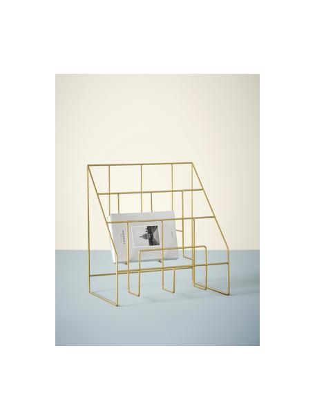 Tijdschriftenhouder Freddy, Gelakt metaal, Goudkleurig, 38 x 41 cm