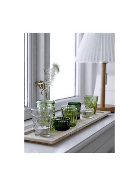 Windlichtenset Wibke, 9-delig, Dienblad: paulowniahout, Groentinten, lichtbruin, 50 x 11 cm