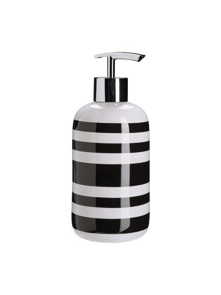 Dosificador de jabón de cerámica Lina, Recipiente: cerámica, Dosificador: metal, Negro, Ø 8 x Al 18 cm