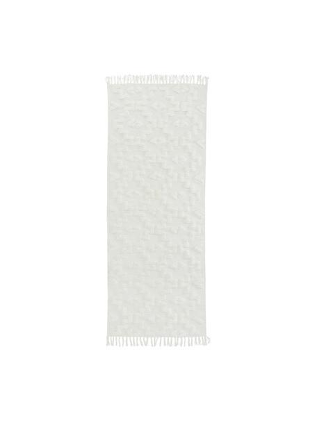 Handgewebter Baumwollläufer Chio mit erhabener Hoch-Tief-Struktur, 100% Baumwolle, Crème, 80 x 200 cm