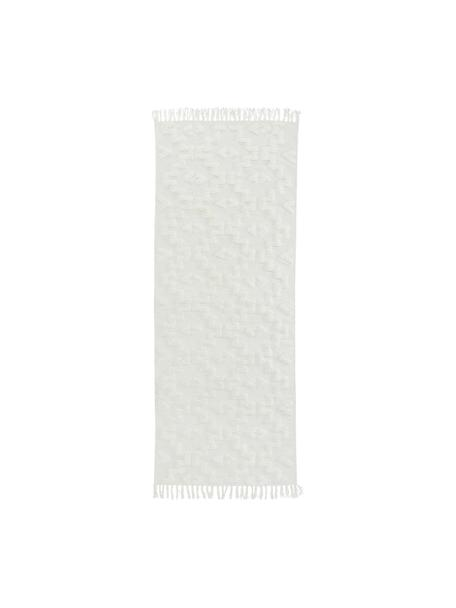 Handgeweven katoenen loper Chio met verhoogd hoog-laag patroon, 100% katoen, Crèmekleurig, 80 x 200 cm