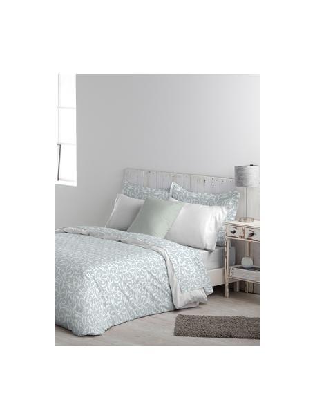 Parure copripiumino in cotone Sola, Cotone, Fronte: azzurro, bianco Retro: bianco, 155 x 200 cm