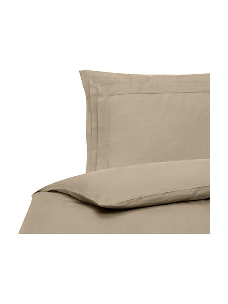 Pościel lniana z efektem sprania Helena, Beżowy, 135 x 200 cm + 1 poduszka 80 x 80 cm