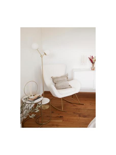 Lámpara de pie de vidrio opalino Aurelia, Pantalla: vidrio, Cable: cubierto en tela, Latón, blanco, Ø 25 x Al 155 cm