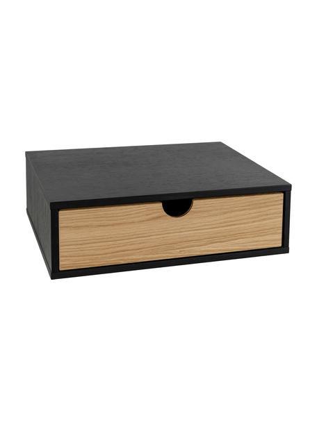 Wand-Nachttisch Farsta mit Schublade, Spannplatte, Mitteldichte Holzfaserplatte (MDF) mit Eichenholzfurnier, Schwarz, Hellbraun, 40 x 15 cm
