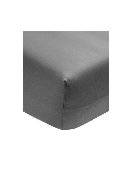 Sábana bajera de satén de algodón ecológico Premium, Gris oscuro, Cama 90 cm (90 x 200 cm)